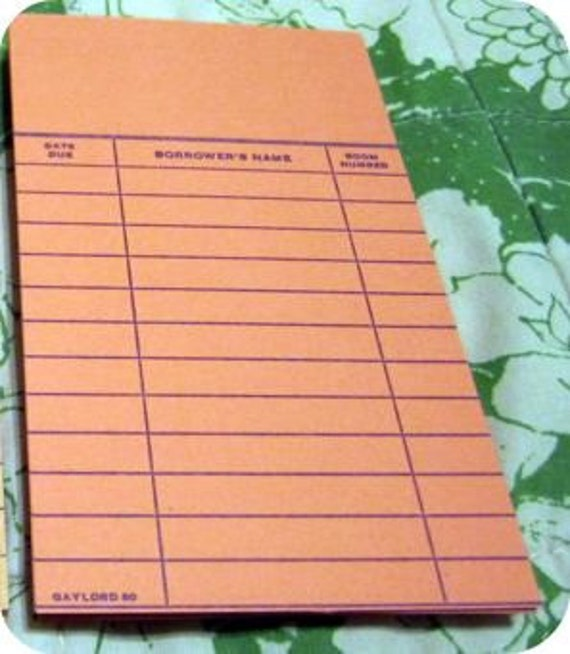 25 Vintage Blank ORANGE Library Date Cards