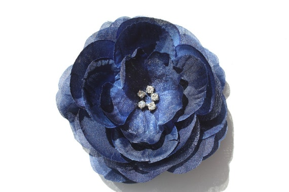 Antique Blue Boutique Layered Flower Hair Clip With Rhinestones