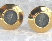 Vintage Earrings Carolee Classic Greek Roman Coin Design