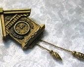Vintage Brooch Coo Coo Clock Rhinestones