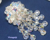 Vintage Brooch Crystal Beaded