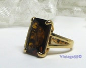 Vintage Ring Topaz Glass Gold tone 6