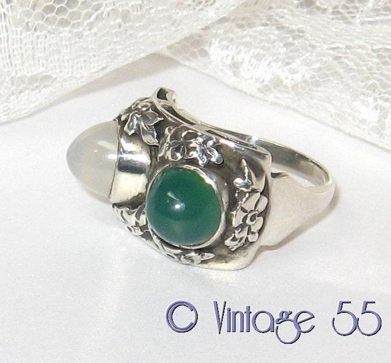 Vintage Ring Silver Moonstone Chrysoprase size 7