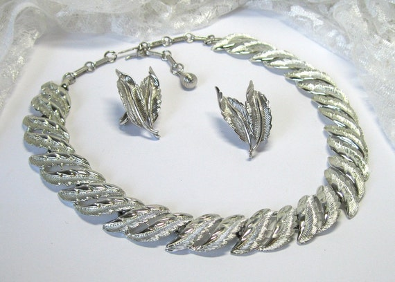 Vintage Necklace Earrings Coro Silver tone