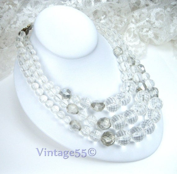 Vintage Necklace  Lucite Beaded  clear 3 strand