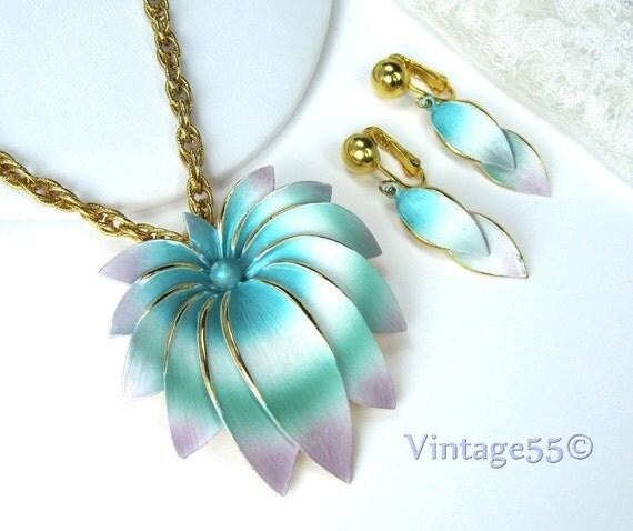 Vintage Necklace Park Lane Enamel Pastels Earrings clip on