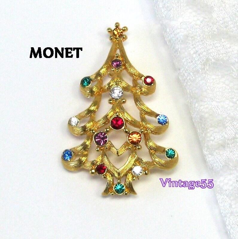 Vintage Brooch Monet Christmas Tree Rhinestone