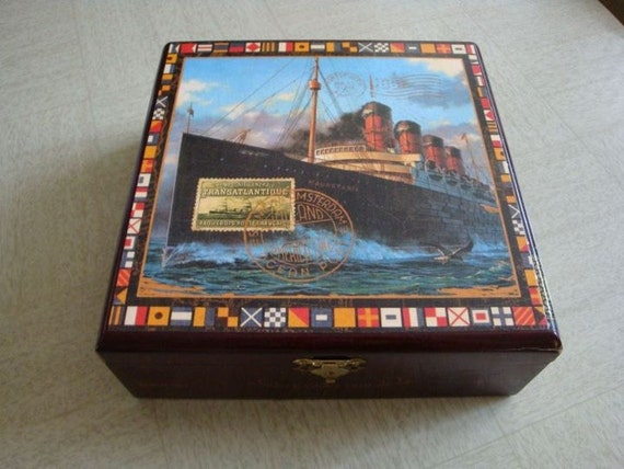 Mauritania Ship Decopage Upcycled Cigar Box