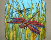 2 Dragonflies on Bamboo Coasters Set of 4