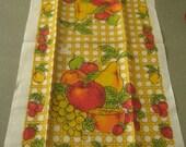 Vintage Linen Towel, Tea Towel, Fruit, Dish Towel, Basket Weave Background, Apples, Pear, Grapes, Cherries, Linen Towel, Retro Kitchen Towel