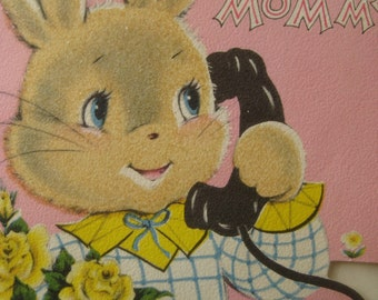 Vintage Card,  Mother's Day Card, 1950s Greeting Card, Bunny on Telephone, Pink Card with Rabbit, Kawaii, Card from Child, Pink, Cute Card