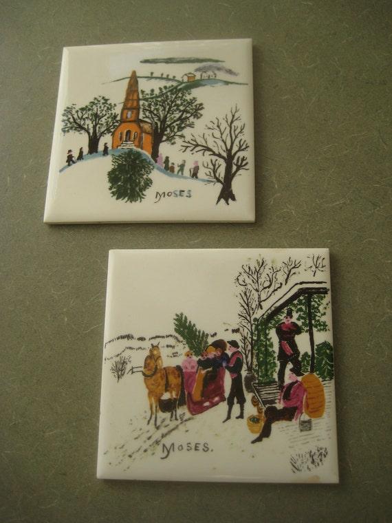 Vintage Grandma Moses Ceramic Tiles made by Berggren-Shelton-Trayner, Set of Two