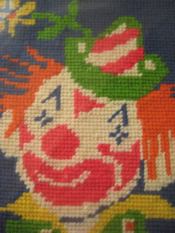 Vintage Needlepoint Clown, Clown in Bright Colors in Wooden Frame