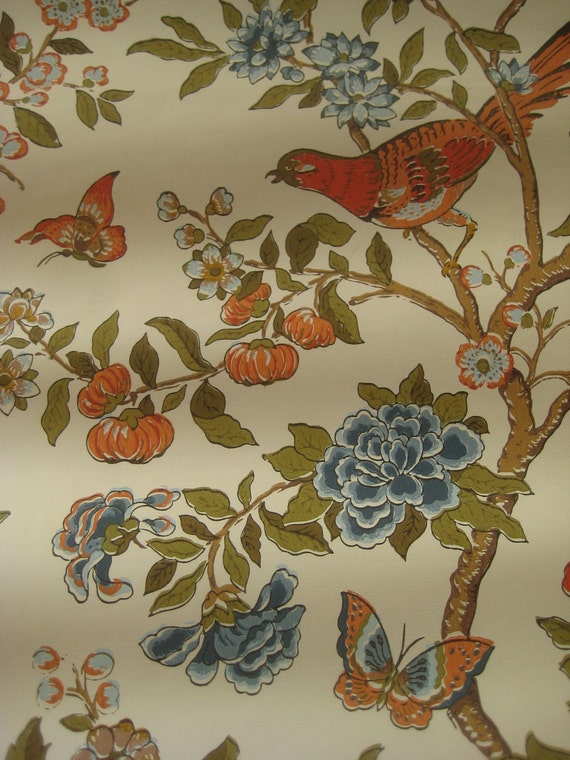 Vintage Wallpaper, Birds, Butterflies, and Flowers, Orange and Blues, Paper for Crafting or Art