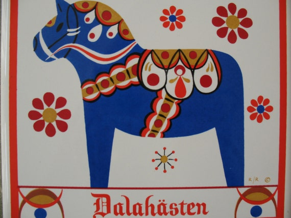 RESERVED Vintage Berggren Tile, Swedish Dala Horse Image, Blue Dala Ceramic Trivet or Home Decor