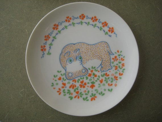 Vintage Plates, Hippo Safari Plates by Seymour Mann, Set of Six Plates