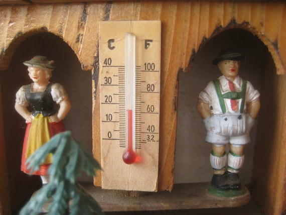 Vintage German Weather House, Thermometer and Barometer, Toggili Chalet, Woodland Decorative
