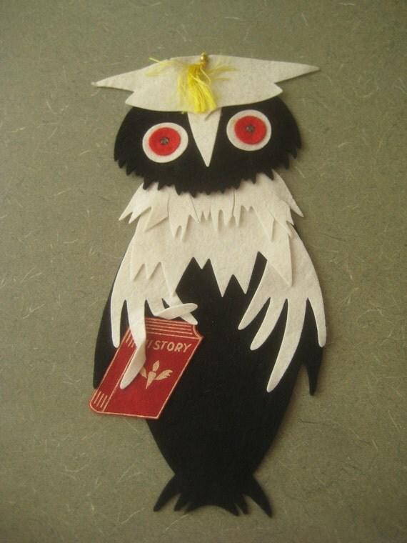 Vintage Felt Owl, Owl Applique, Graduation, Owl in Mortarboard, Large Black Felt Owl