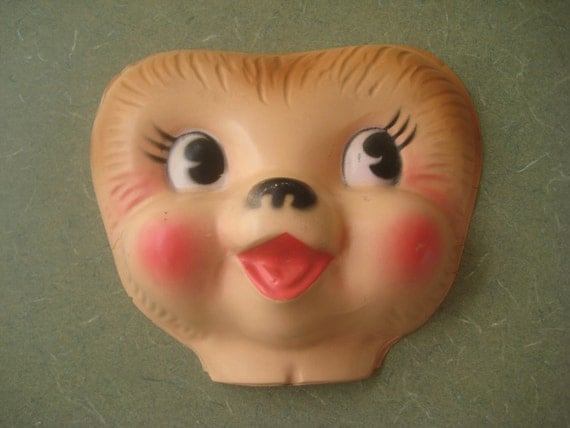 RESERVED FOR M Vintage Plastic Animal Face for Doll Making, Hong Kong, Large Size, Plastic Teddy Bear Face
