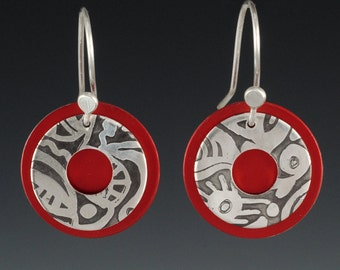 Etched Silver Red Earrings