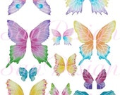 Butterfly Wings Digital Collage Sheet, blue, lavender, yellow, pink, fairy wings, pastel, No. 261