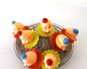 Clown Cupcake toppers celluloid plastic Vintage Set  and colorful