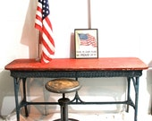 wicker table cottage decor 1930s red and blue perfect for the 4th of july