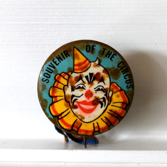 Vintage Circus souvenir button with pin and ribbon and creepy colorful clown