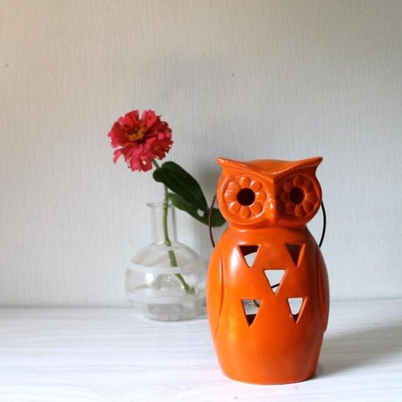 Vintage Orange owl-Ceramic marked Lego - candle holder  TheBestVintage ebvteam