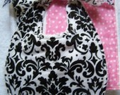 Baby Burp Cloth and Bib set . Boutique 3 piece black and white damask. Great for a baby shower gift. Super absorbent and cute.