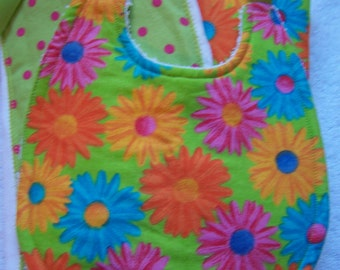 Baby burp cloth and bib set. lime green, pink flowers and polka dots. Baby shower gift