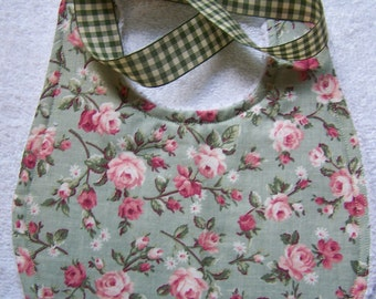 Baby burp cloth and bib set. chic baby. Sage with pink roses. 3 piece Boutique style baby shower gift.