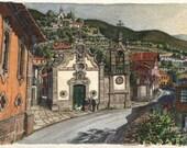 A priest, a devout and a dog - Original art, small 7x5 landscape watercolor painting