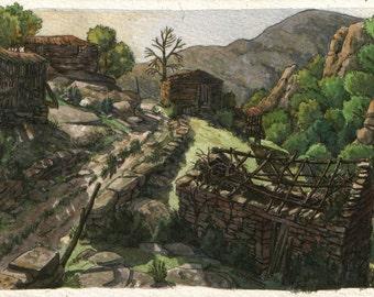 Empty houses - Original art, small 7x5 landscape watercolor painting