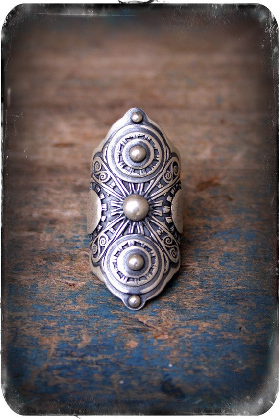 Armor Ring- A Sterling Silver Filigree Saddle Ring
