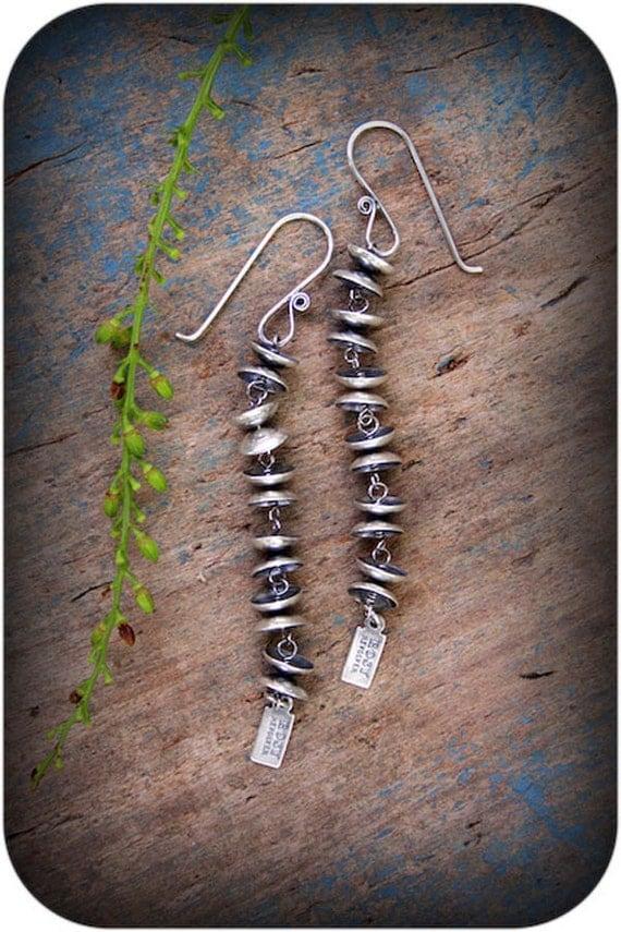 Rain Bell Earrings- Long Sterling Silver Earrings