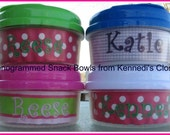 Kids Custom Monogrammed Snack Bowls Storage Travel Tupperware