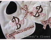 Custom Girls Baby Personalized Bib and Bloomers Diaper Cover Set with Grosgrain Bows