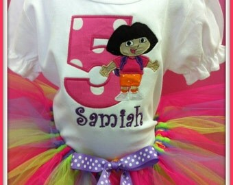 Birthday outfit Dora the explorer set tutu and monogrammed ruffle shirt
