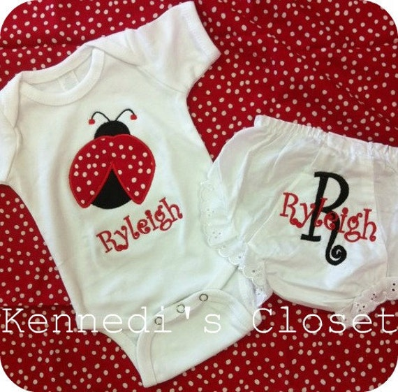 Custom monogrammed applique ladybug onesie shirt or tank top with matching bloomers diaper cover red and black