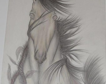 Horse art print artwork 9x12