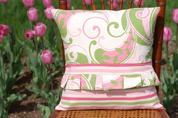 Soft Pink and Green Floral Modern Throw Pillow Cover