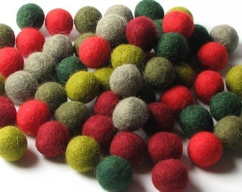 1CM Felt Balls/60-Piece - Retro Mix