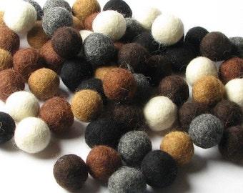 1CM Felt Balls/60-Piece - Neutral Mix