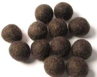 2CM Felt Balls/24-Piece - Dark Chocolate