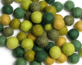 1CM Felt Balls/60-Piece - Evergreen Mix