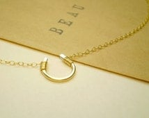 Tiny Luck Necklace - Tiny Hand Formed Horseshoe on Delicate Chain - 14k Gold Filled, Sterling Silver or Rose Gold Filled