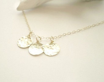 Three Sisters - Three Small Petite Hammered Gold Filled Discs on Delicate Gold Filled Chain