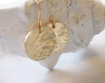 Hammered Disc Earrings - Beach Day Earrings - 14k Gold Filled or Sterling Silver