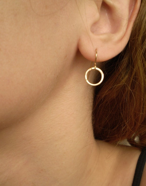 Tuesday Earrings - Simple Hammered Gold Filled Link on Gold Filled Earwires